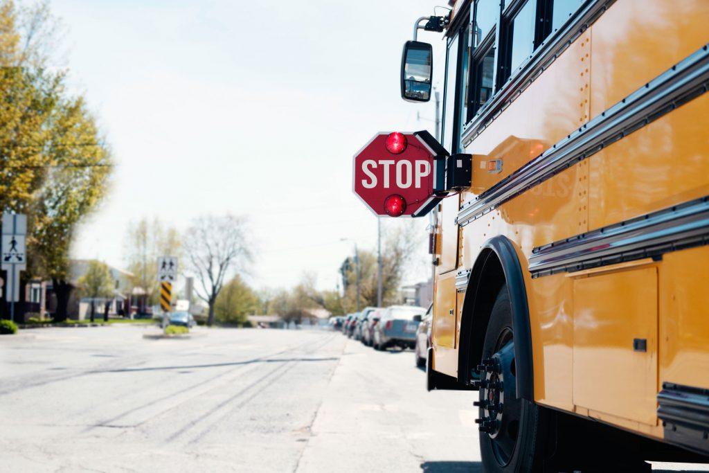 School bus in neighborhood.